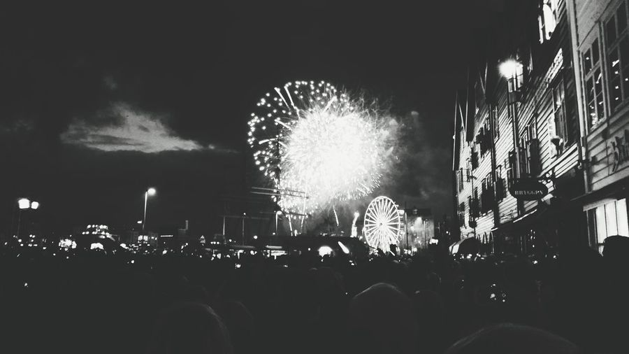 17 of May. Fireworks Port Bergen Nightphotography ABlack & White Celebration 43 Golden Moments