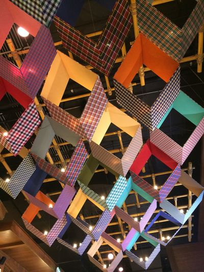 Built Structure No People Architecture Low Angle View Multi Colored Pattern Illuminated Full Frame Shape Lighting Equipment Geometric Shape Decoration Outdoors Backgrounds Design Building Ceiling