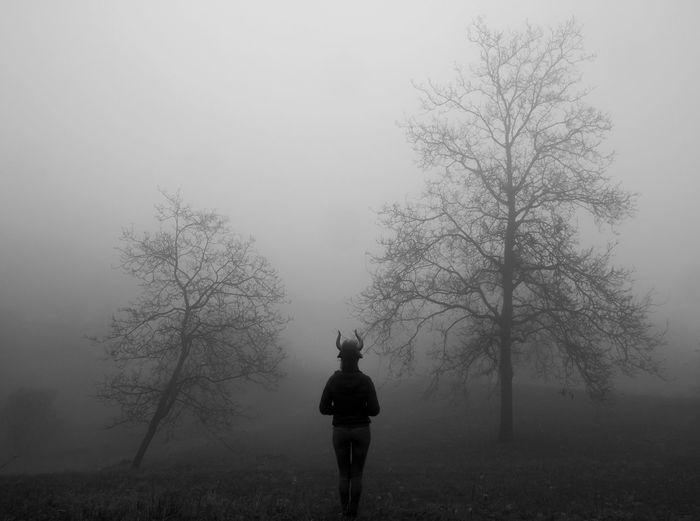 Alone Winter Is Coming Blackandwhite Minotaurus Tranquil Scene
