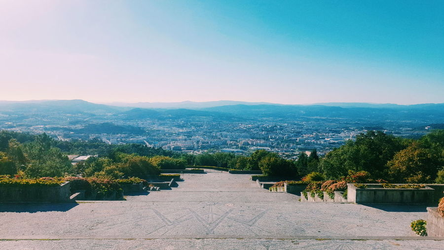 Yesterday. Clear Sky Copy Space Tranquility Tranquil Scene Scenics Blue Plant Growth The Way Forward Nature Beauty In Nature Mountain Day Residential District Outdoors Sky Non-urban Scene Vacations Long No People Portugal Braga View From The Top City View  VSCO