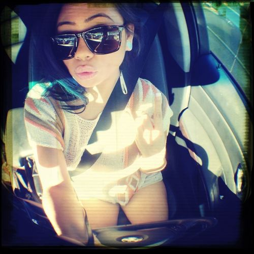 Waiting for my dad. I love my fish eye lens and my Benz