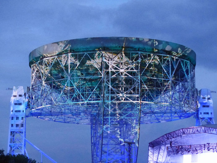 Light show starting up as dusk falls Architecture Arts Culture And Entertainment Blue Built Structure Cloud Cloud - Sky Dusk Colours Dusk Sky Illuminated Lightshow Lovelltelescope Low Angle View Modern Observatory Otherworldly Outdoors Showcase July