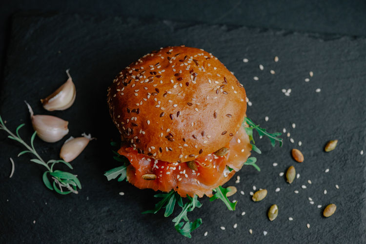 High angle view of burger on table