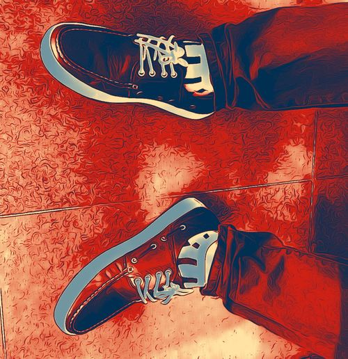 Shoes Legs Red Eating Sitting Feets Catoon Drawing Red Color Fine Art Photography On The Way