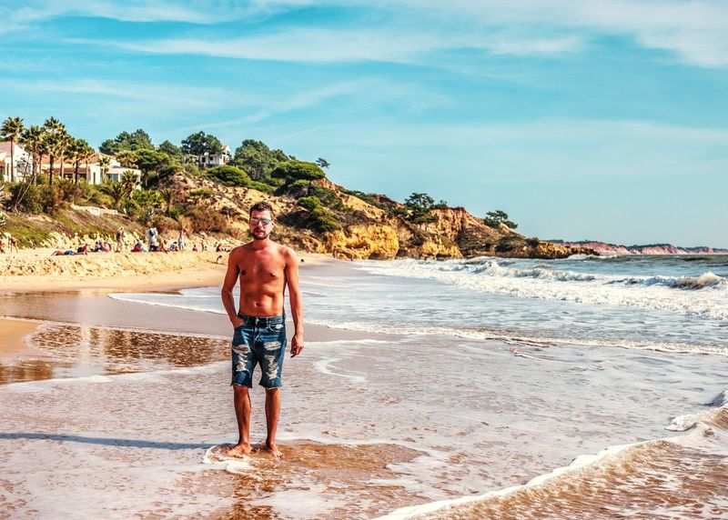 Portugal Algarve Beach Sea Rear View Sand Only Men One Man Only Adults Only One Person Walking Adult Water People Full Length Day Vacations Shirtless Outdoors Men Summer Nature Portugal Portugal Algarve Beach Life Green Holiday Sea Hello World Real People Travel Destinations EyeEmNewHere