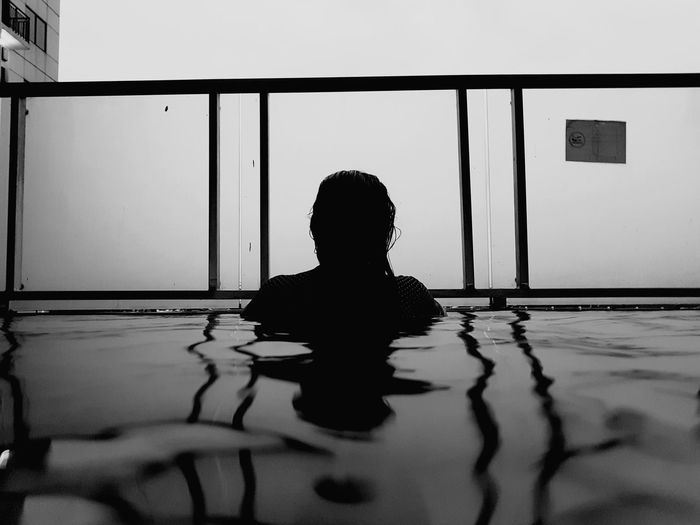 Water Women Silhouette Rear View Architecture Swimming Pool Focus On Shadow