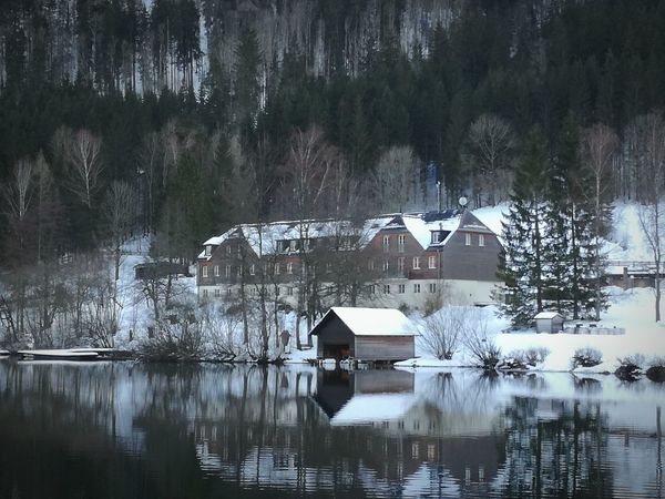 Shades Of Winter Lunzersee Lake Travle Photography Travel Destinations Charming Place Mytravelgram Water Reflection Lake Building Exterior Architecture Outdoors Nature