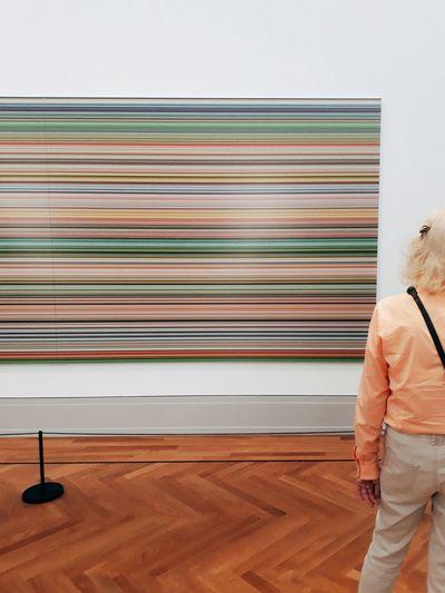 Standing Berlin Visitor Museum Exhibition Art Modern Art Contemporary Art Gerhard Richter Visitor Contemplation. Leisure Activity Abstract Art Parquet Floor Hardwood Floor Human Back Back