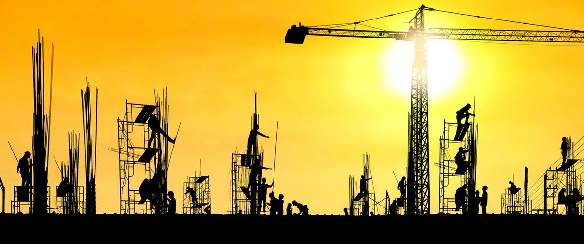 Silhouette construction workers group are working to build reinforcement structure on top of building in construction site with blurred sunrise sky background, panorama view in industrial and technology concept Scaffolding Reinforcement Equipments Professions Shadow Men Construction Silhouette Industrial Crane People Building Structure Site Occupation Engineering Colorful Yellow Workers Group Technology Panorama View City Silhouette Sunset Sky Architecture Sun Sunrise Evening