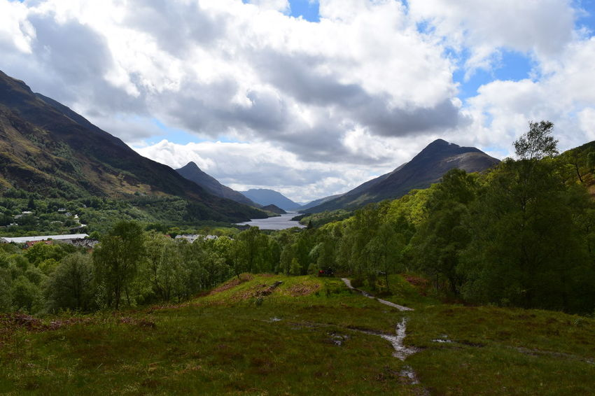 Beauty In Nature Clouds Day Glencoe Grass Kinlochleven Landscape Loch Leven Mountain Nature No People Outdoors Peace Scenery Scenics Scotland Scottish Highlands Sky Solidarity Solitude Tranquil Scene Tranquility Tree Trees Lost In The Landscape