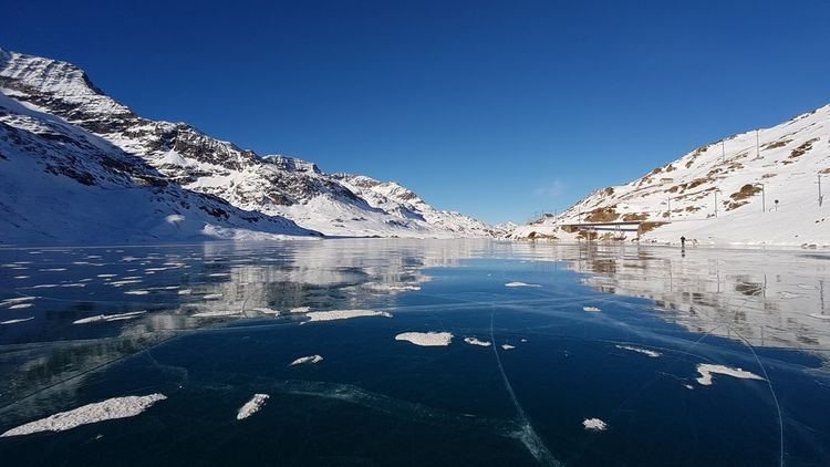 Frozen lake Sky Blue Water Mountain Nature Winter Clear Sky Scenics - Nature Beauty In Nature Snowcapped Mountain Outdoors