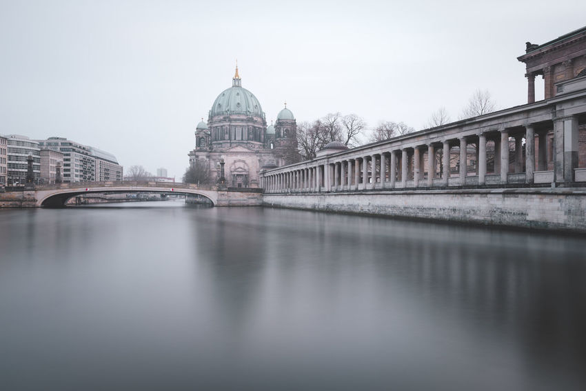 Berlin Cathedral with reflection Berlin Berlin Mitte Berliner Dom Museumsinsel Spree River Berlin Architecture Berlin Architecture Berlin Sights Berlin Sightseeing Bridge Bridge - Man Made Structure Building Building Exterior Built Structure City Connection Dome Government Long Exposure Nature No People Outdoors Place Of Worship Reflection Religion Sky Tourism Travel Travel Destination Travel Destinations Water Waterfront