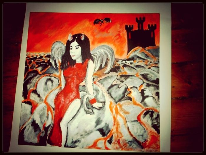 fireheart by Cmpt in inks and acrylics Painting Devil Falling Angel Art