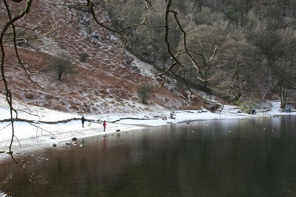 Cumbria England UK Grassmere Hiking Hills Lake District Trees Winter Cold Lake People Scenics Snow Walking Water