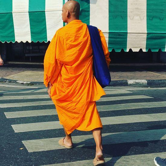 Real People Monk  Orange Crossing Budhism Divine