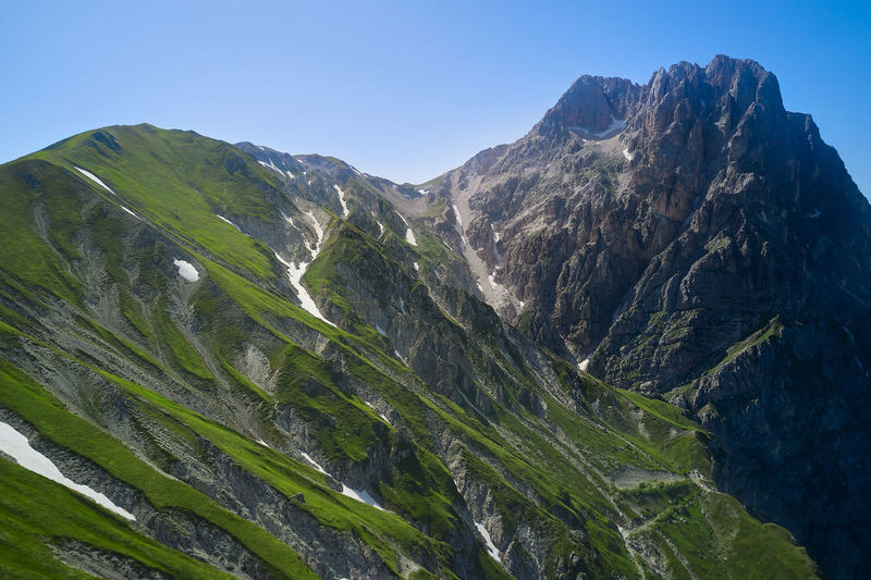 Aerial close-up view of the great horn of the gran sasso d'italia abruzzo