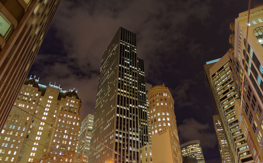 Cloudy Night. Pentax PENTAX K-1 San Francisco California Bay Area USA Pentax 24-70 F/2.8 Cloud Low Angle View Skyscraper Cityscape Architecture Night Illuminated Skyscraper Business Finance And Industry Architecture Downtown District Low Angle View Cityscape Travel Destinations Arts Culture And Entertainment City Nightlife Urban Skyline No People Outdoors Sky California Dreamin