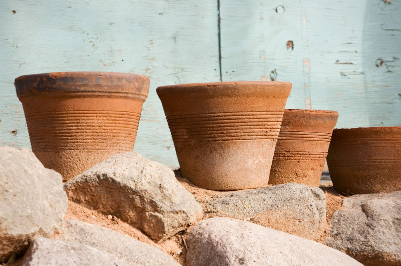 Clay Pots On Stone