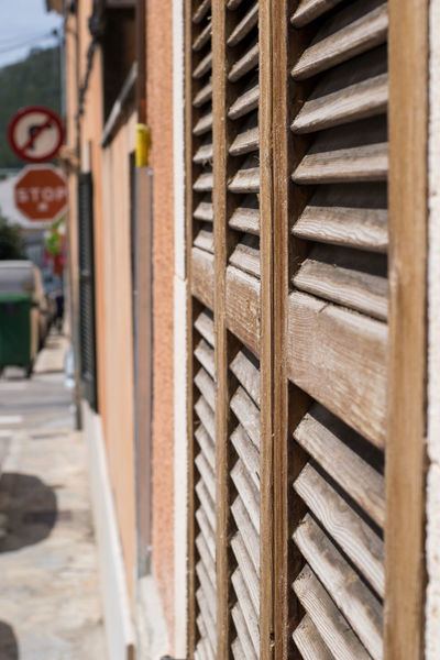 Andratx Architecture Building Exterior Built Structure Close-up Day In A Row Majorca Mallorca No People No Right Turn Outdoors Stop Sign Wood - Material Wood Grain Shutters