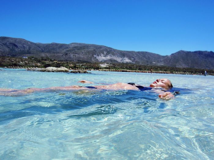 Blue Water Real People Swimming Beauty In Nature Clear Water Sunny Day Greece, Crete Elafonisi Beach Bikini Time! Warm Day Holiday Beachday Clear Blue Sea Ocean Feels Like Heaven