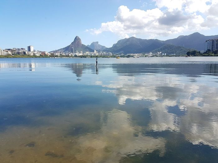 Rio Break The Mold People City Tourism No People EyeEmNewHere Travel Destinations Outdoors Water Reflection Mountain Range Beauty In Nature Green Color No Peoples Clear Sky Illuminated Scenics