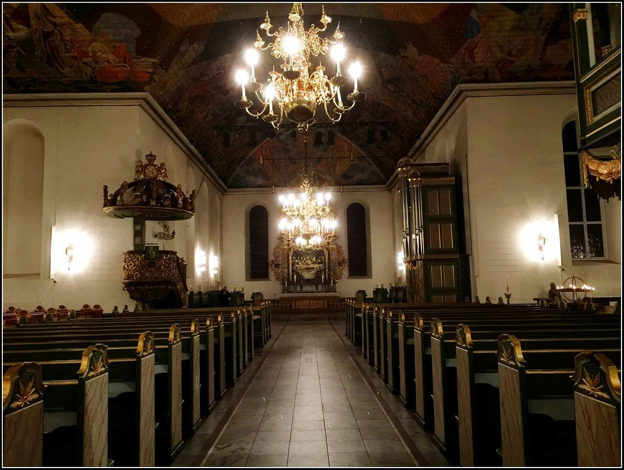 spirituality, religion, place of worship, pew, indoors, illuminated, altar, no people, day