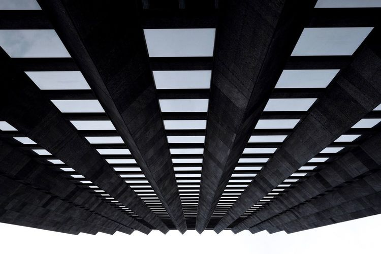 New York lines Low Angle View Ceiling Architecture Built Structure Repetition Indoors  Diminishing Perspective Cloud In A Row Sky Modern Geometric Shape Day Engineering Conformity Below Long Architectural Design Architectural Feature Bridge
