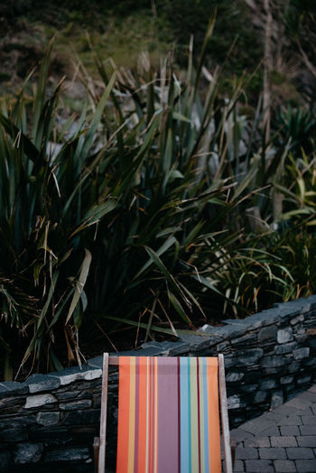 A cropped deck chair in the garden Colours Deck Chair Book Close-up Cropped Day Grass Growth Nature No People Outdoors
