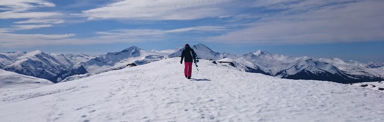 Rear View Of Person Skiing On Snowcapped Mountains