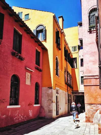 Venice Italy Europe Travel Building Old Colorful Street Shadow Yallow