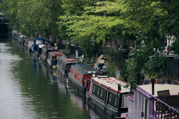 Boats moored in river by trees in city