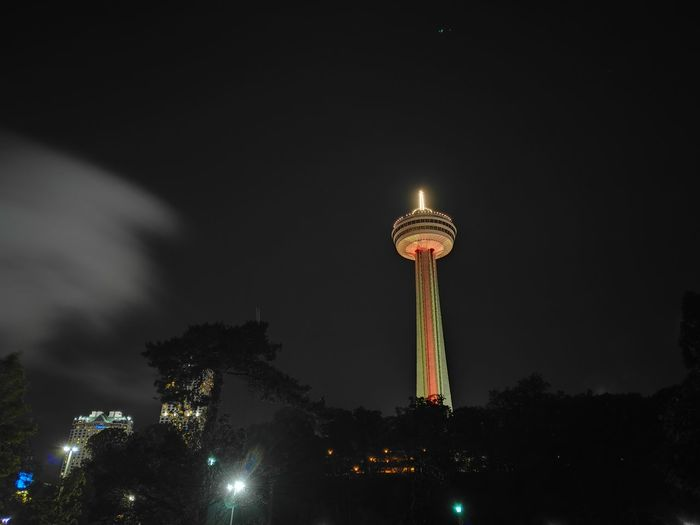 Low angle view of lit up at night