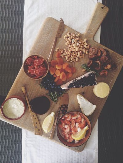 Directly Above View Of Various Food On Cutting Board