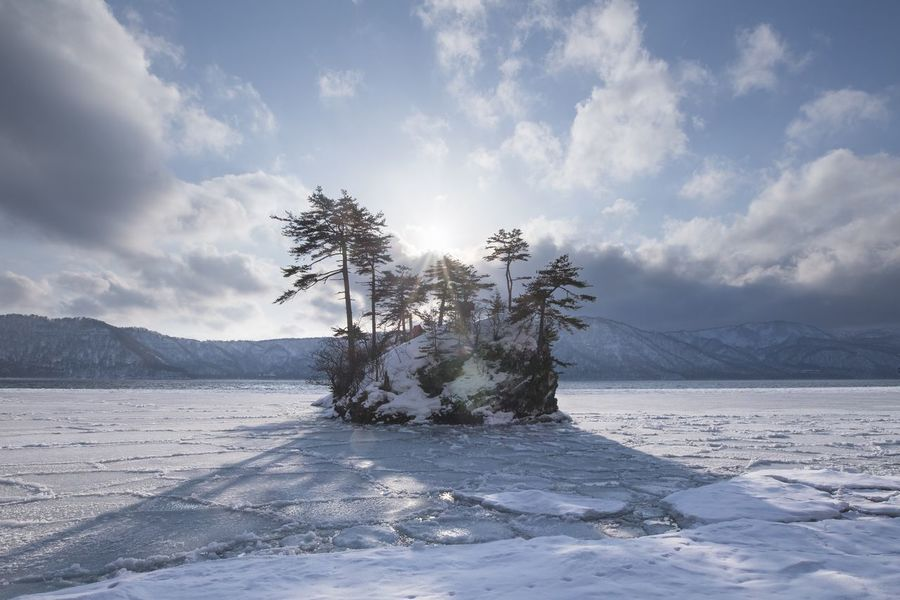 Lake Cloud - Sky Nature Tranquility Sky Beauty In Nature Tranquil Scene Scenics Winter Tree No People Cold Temperature Snow Day Outdoors Landscape Mountain