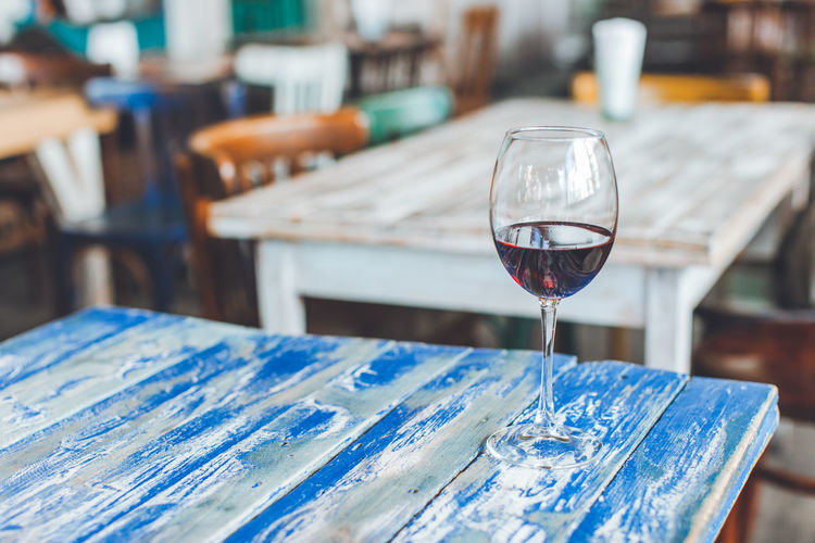 Alcohol Blue Cafe Drink Drinking Glass Food And Drink Glass Glass - Material Indoors  Red Wine Refreshment Seaside Still Life Table Wine Wineglass Wood - Material