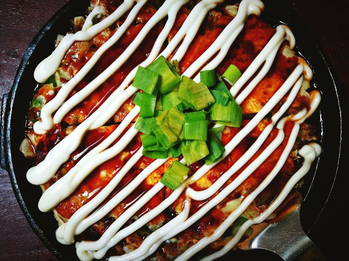 Okonomiyaki Okonomiyaki Japanese Food Vegetable High Angle View Close-up Food And Drink Asian Food Asian Culture Served