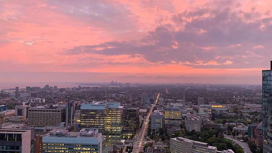 The sky is pink Pink Sky Pink Downtown Toronto Toronto Downtown Toronto Canada Building Exterior Architecture City Built Structure Sky Building Cityscape Sunset Cloud - Sky High Angle View Landscape Aerial View Dramatic Sky Travel Destinations Residential District
