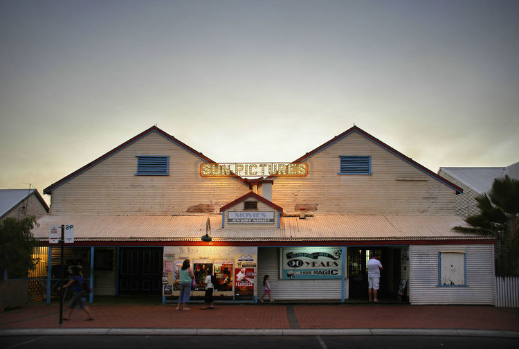 Broome, Australia Kimberley Movies Western Australia Building Exterior Dusk Group Of People Historic Building Oldest Movie House People Sky Street Sun Pictures Theatre