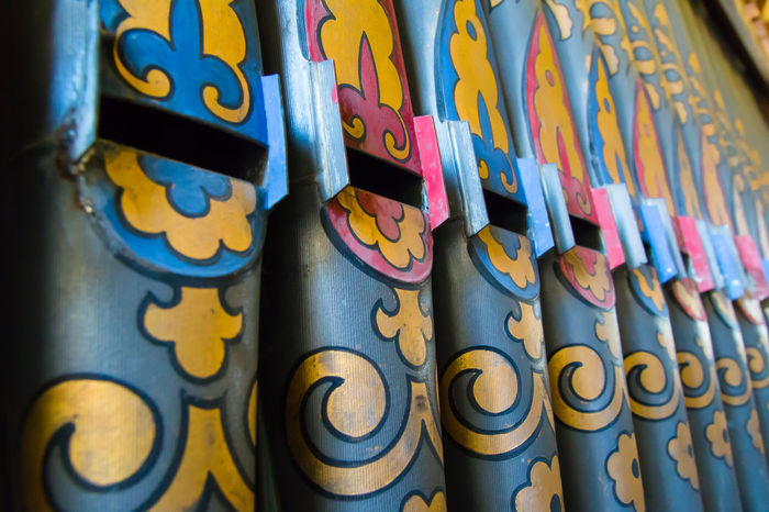 Multi coloured Church organ pipes Church Organ Pipes Close-up Detail Indoors  Multi Colored No People Old Pattern, Texture, Shape And Form