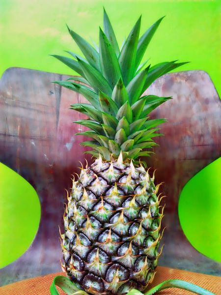 Pineapple Fruit Portrait Fruits And Vegetables Freshness Fruit Photography Green Color Close-up Green Background Nature