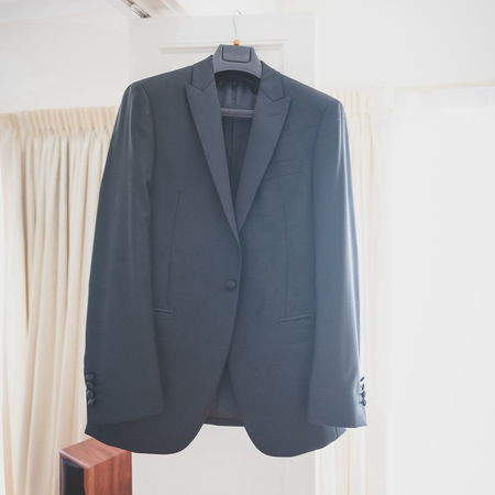 Close-up Gray Hanging Indoors  Jacket Lifestyles Room Suit Tailored To You Textile White