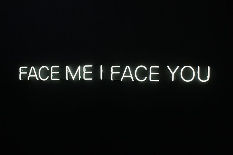 See me Arts Culture And Entertainment Light Explore Art Text Western Script Communication Copy Space No People Night Capital Letter Indoors  Illuminated Sign Studio Shot Close-up Black Background Dark Message