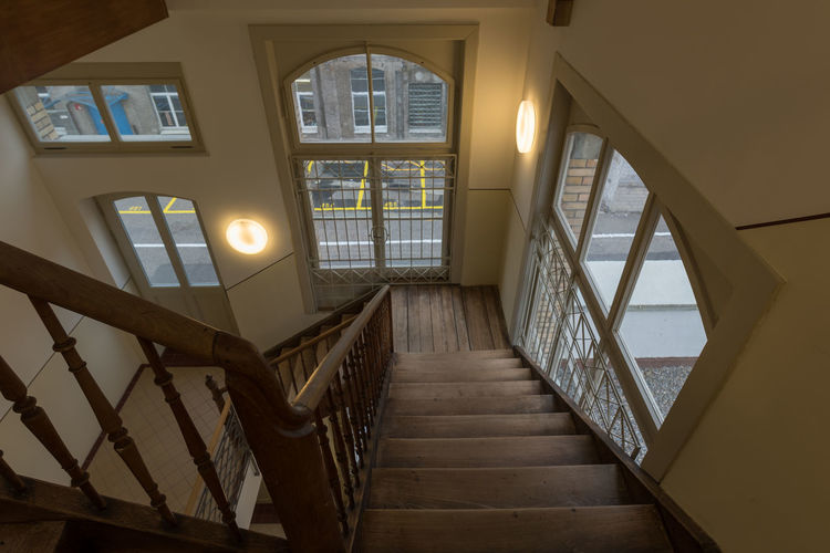 stairway Architecture Historical Building Stairway Wood Architecture Building Built Structure Day Glass - Material High Angle View Historic History Home Interior House Illuminated Indoors  No People Pattern Railing Spiral Staircase Stars Steps And Staircases Window Wood - Material