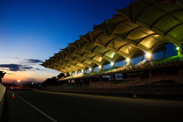 The Drive Architecture Illuminated Built Structure Night Stadium Outdoors No People Cloud - Sky Sky Sepang International Circuit Sepangcircuit Circuit Motosports Racing Car Racing Track