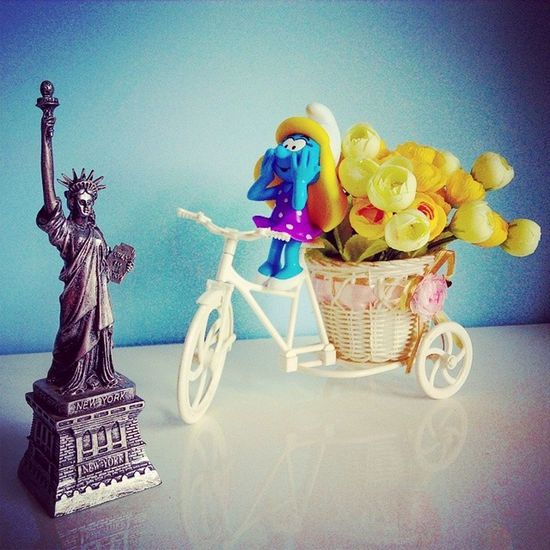 For the first time, Smurfette visited the Statue of Liberty riding a bicycle! So excited :-D Thesmurfs Schlumpf Smurfette  TheStatueofLiberty LibertyStatue NewYork NewYorkCity NY NYC bicycle bike flowers excited traveling
