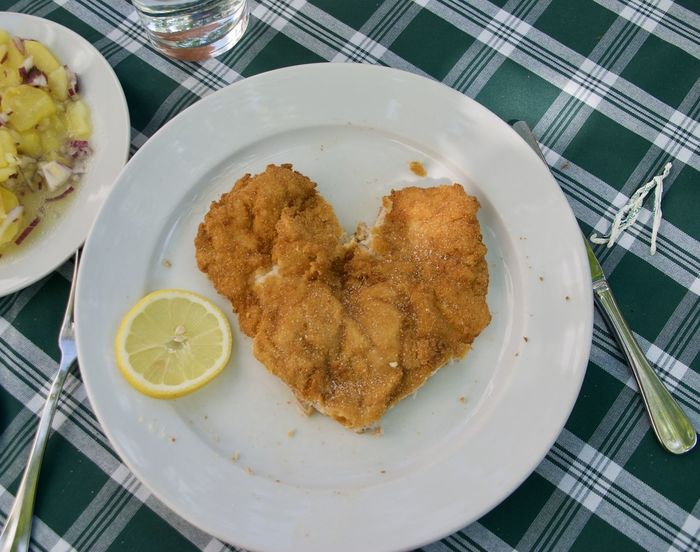 I love Wienerschnitzel Close-up Day Directly Above Food Food And Drink Fork Freshness Heart Heart Shape High Angle View Indoors  Indulgence Meat No People Plate Ready-to-eat Schnitzel Serving Size SLICE Symbol Table Temptation Traditional Food Vienna
