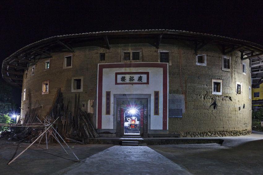 Ancient Buildings Distinctive Buildings Famous Tourist Attractions Yongding, Fujian Hakka Soil Building Architecture Building Exterior Built Structure Illuminated Night No People Outdoors