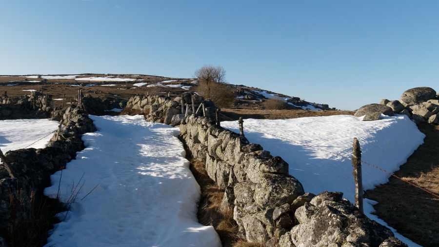 Aubrac Lozère  Path Path In Nature Stone Stone Wall Rock Rock - Object Snow Landscape Landscape_Collection Landscape_photography Land Countryside Nature Nature_collection Nature Photography Tree Hiking Hikingadventures Sky Scenics - Nature Clear Sky Blue Winter Tranquility Beauty In Nature Tranquil Scene Cold Temperature Day No People Outdoors Water Frozen Animal Animal Themes Animal Wildlife Copy Space Ice Snowcapped Mountain