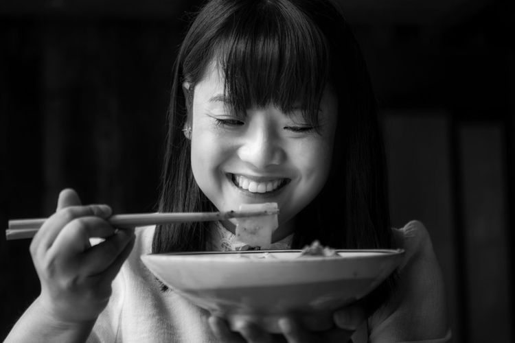 Eating Chinese Blackandwhite Black And White EyeEm Selects Headshot Happiness Chopsticks Smiling Holding Food And Drink One Person Food Bowl Women Portrait Asian Food Lifestyles Indoors  Real People Chinese Food Hairstyle Meal Pasta