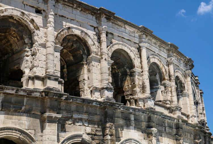 History Architecture The Past Built Structure Travel Building Exterior Travel Destinations Tourism Ancient Low Angle View Arch Old Ruin Sky No People Day Architectural Column Ancient Civilization Archaeology Ornate Roman Empire Nîmes Antique Amphitheater